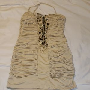 Jeweled front ruched body con dress